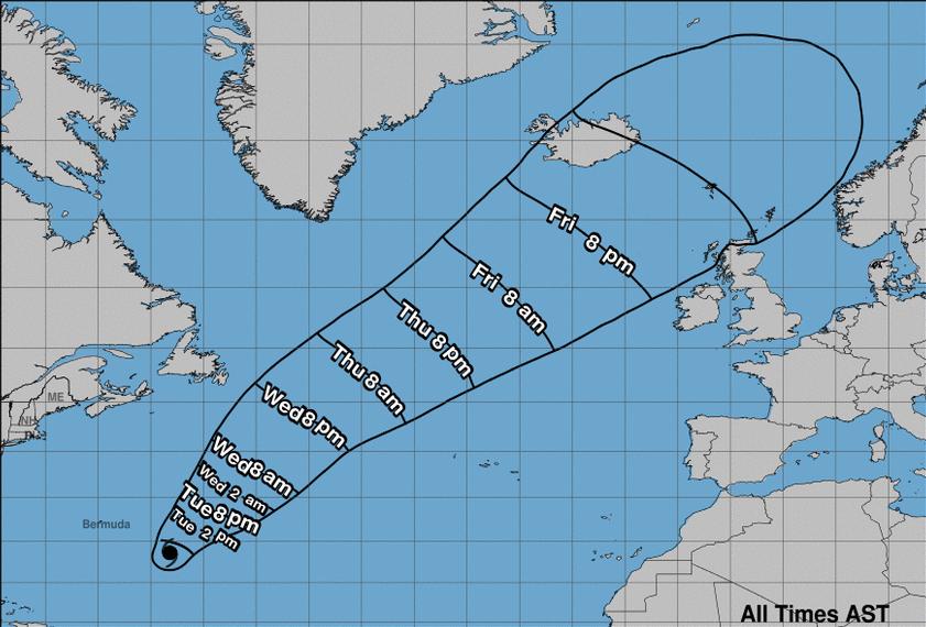 STØ KURS: Den tropiske orkanen «Oscar» satte kursen mot Nord-Europa denne uken. Den slår likevel ikke fullt inn mot Norge.