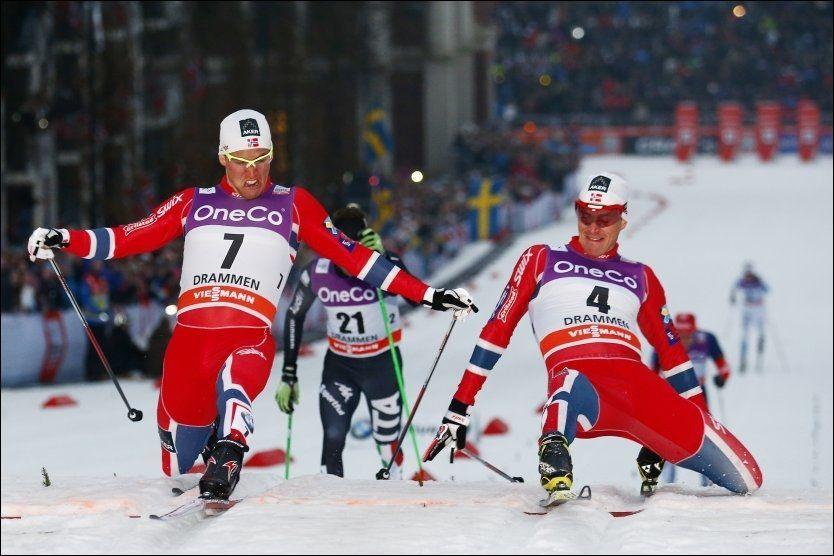 SYV HUNDREDELER: Ola Vigen Hattestad (t.h.) var så vidt foran Pål Golberg i sprintfinalen i Drammen. Etter seieren overtok Hattestad ledelsen i sprintverdenscupen. Foto: NTB SCANPIX
