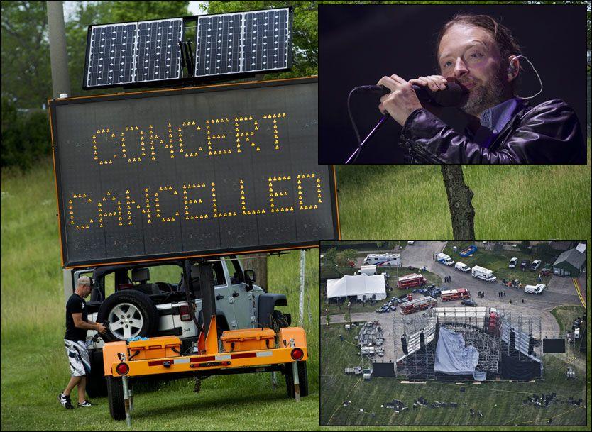 ALVORLIG: Scenetaket kollapset under Radioheads besøk i Canada. Ulykken skjedde kun én time før innslipp. Montasjen viser også vokalist Thom Yorke under en festival i Manchester i begynnelsen av juni. Alle foto: AP