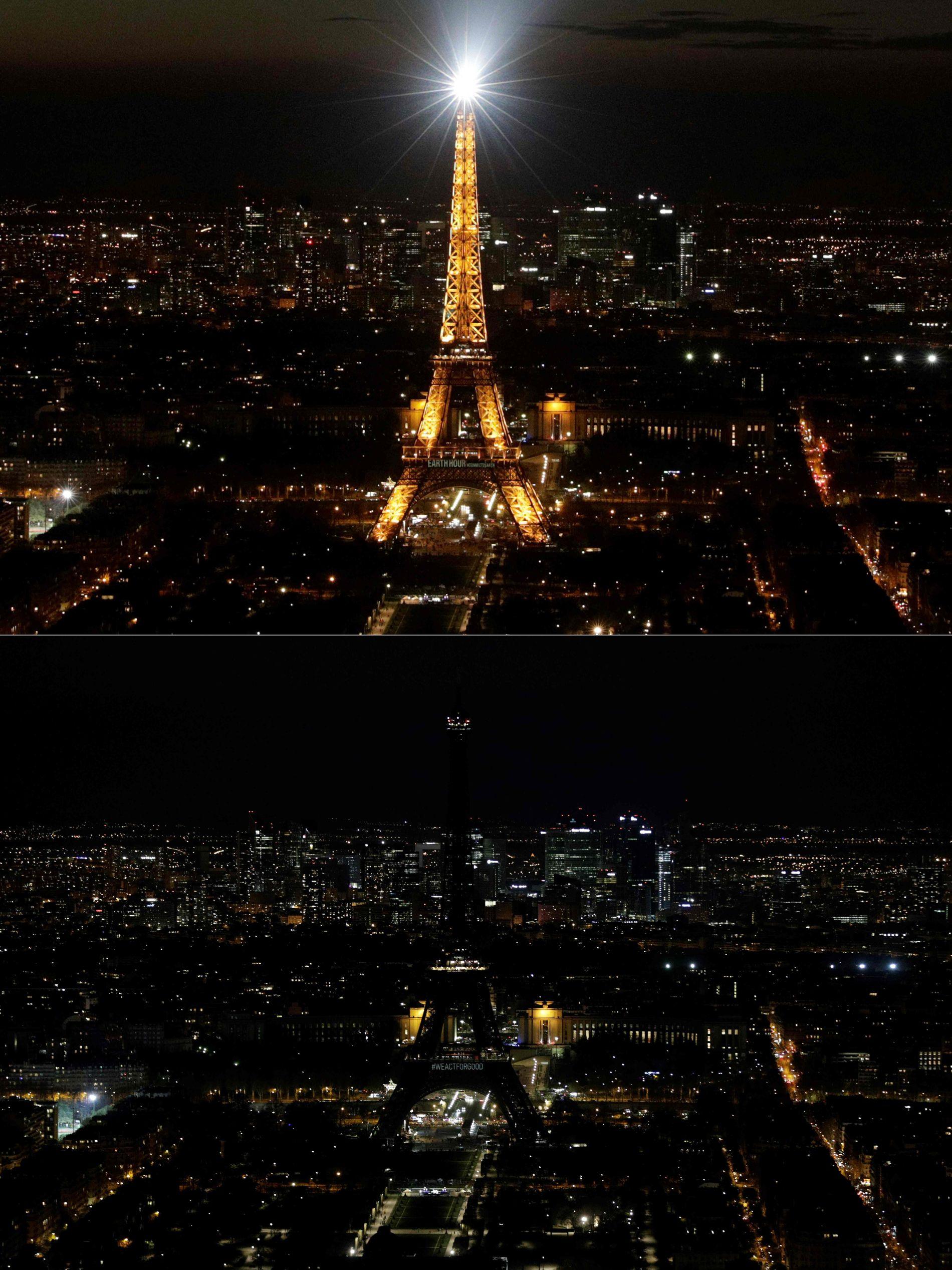 PARIS: Bildet øverst er et illustrasjonsbilde. Bildet nederst viser Eiffeltårnet under «Earth hour» 2019.