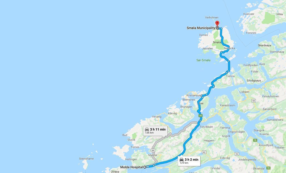 LANG TUR: Det tar drøye tre timer å kjøre fra Smøla på Nordmøre til sykehuset i Molde, etter Google Maps beregninger.