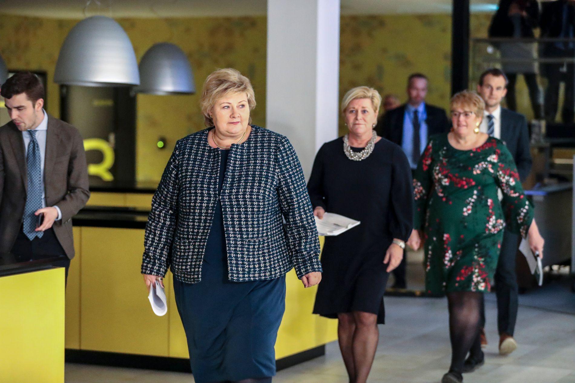 INNMARSJ: Fire partier danner nå regjering. Fra venstre Erna Solberg. Siv Jensen, Trine Skei Grande og Kjell Ingolf Ropstad.