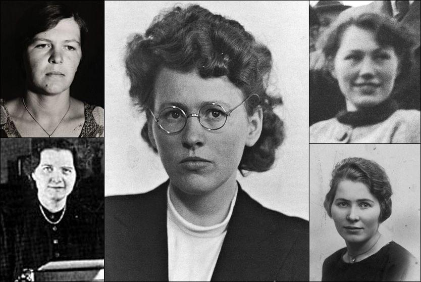 MOTSTANDSKVINNER: Helga Stene (øverst til venstre),Sigrid Steinnes (nederst til venstre), Olaug Karlsen (i midten) Leikny Karlsen (øverst til høyre)og Sigrun Solberg (nederst til høyre).