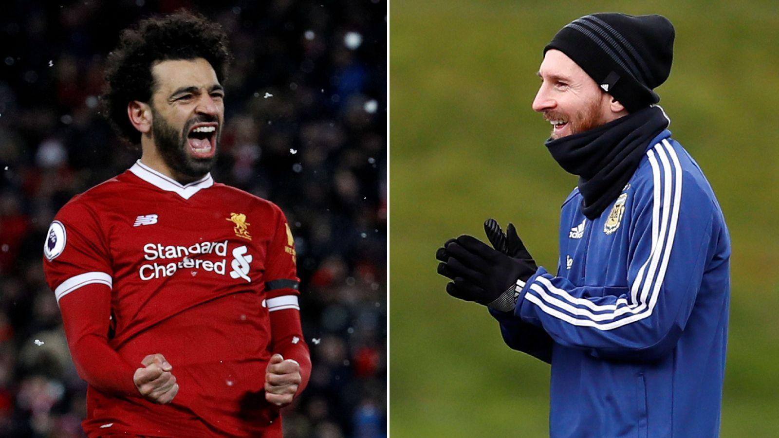 MÅLMASKINER: Mohamed Salah og Lionel Messi.