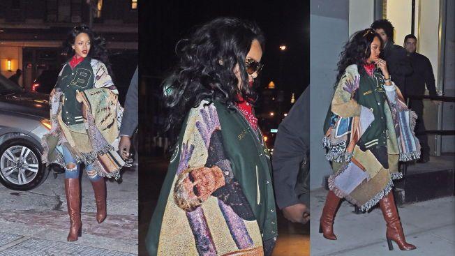 B FOR BJARNE: Superstjernen Rihanna i det hun forlater SoHo-butikken VFILES i New York iført Bjarne Melgaards jakke. Butikken hadde to eksemplarer. Den andre jakka gikk til Kim Kardashian. Legg merke til bildet av kunstnerens 84 år gamle mor på jakka.Foto: Tatiana Kevych/Splash News/All Over Press