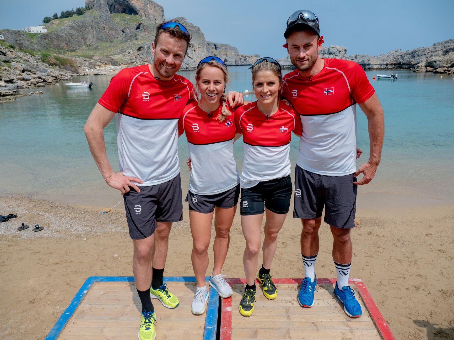 ESS ON THE BEACH: Emil Iversen, Tiril Eckhoff, Therese Johaug og Petter Northug forsvarer de norske æren i «Landskampen».