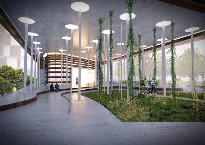 INNGANGSPARTI: Slik kan inngangspartiet på det nye sykehuset bli.