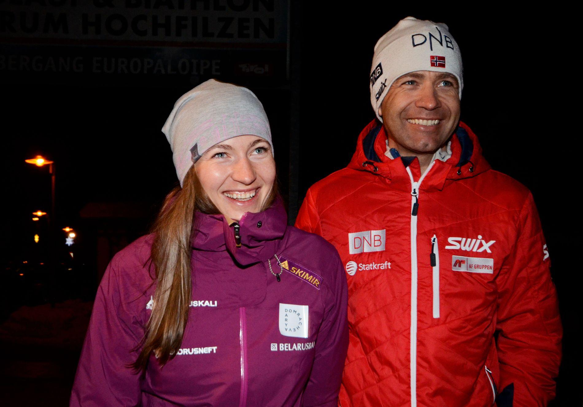 PAR I HJERTER: Darja Domratsjeva og Ole Einar Bjørndalen, her fotografert under VM i 2017.