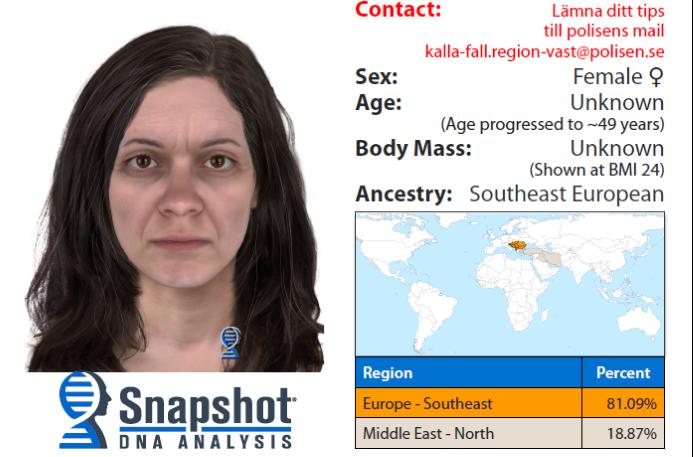 DNA-BILDE: Slik tror politiet at kvinnen kan se ut i dag.
