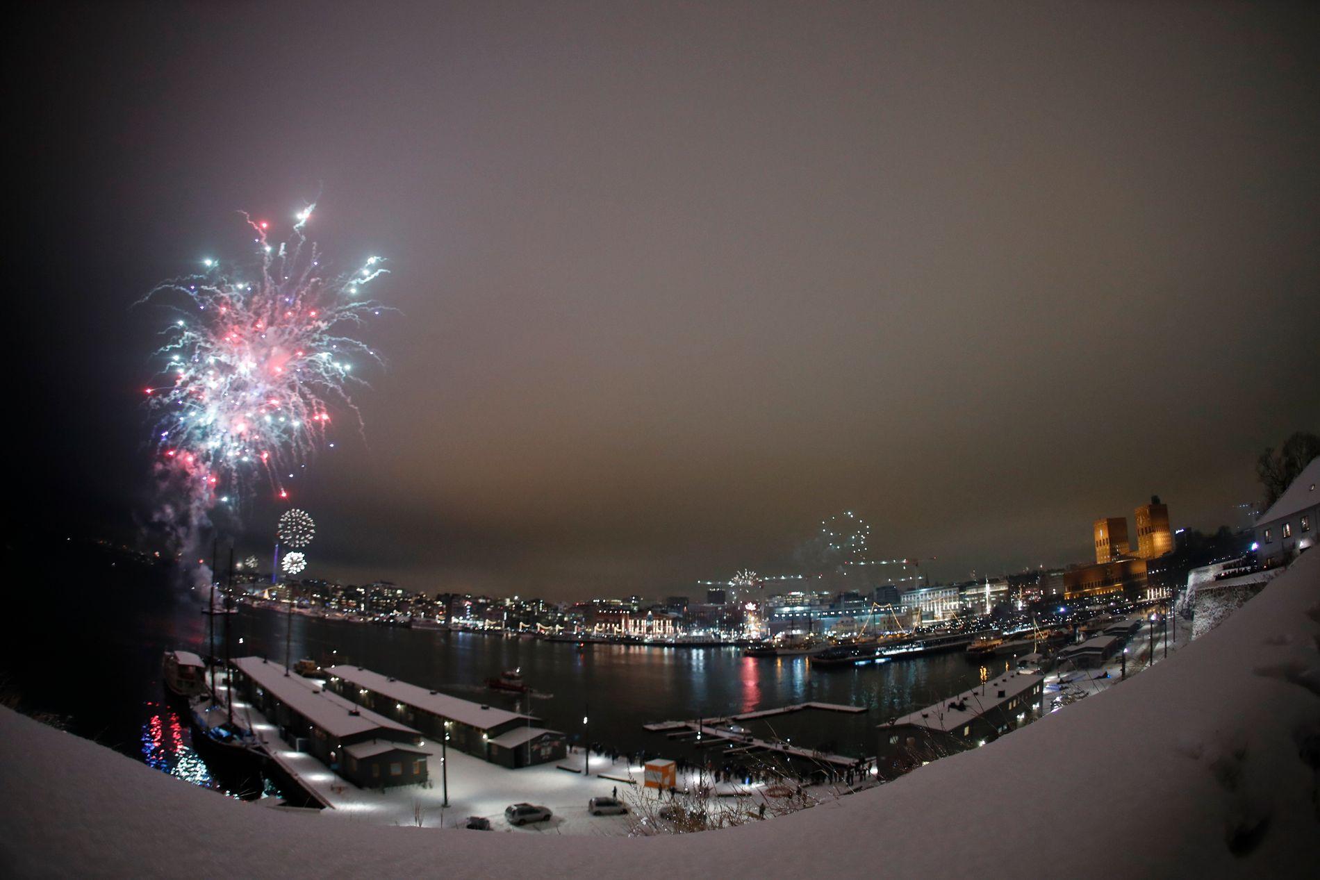 VINDKAST: Nyttårsaften kan kraftige vindkast gi problemer for avviklingen av fyrverkeri. Her fra Oslo 1. januar i år.