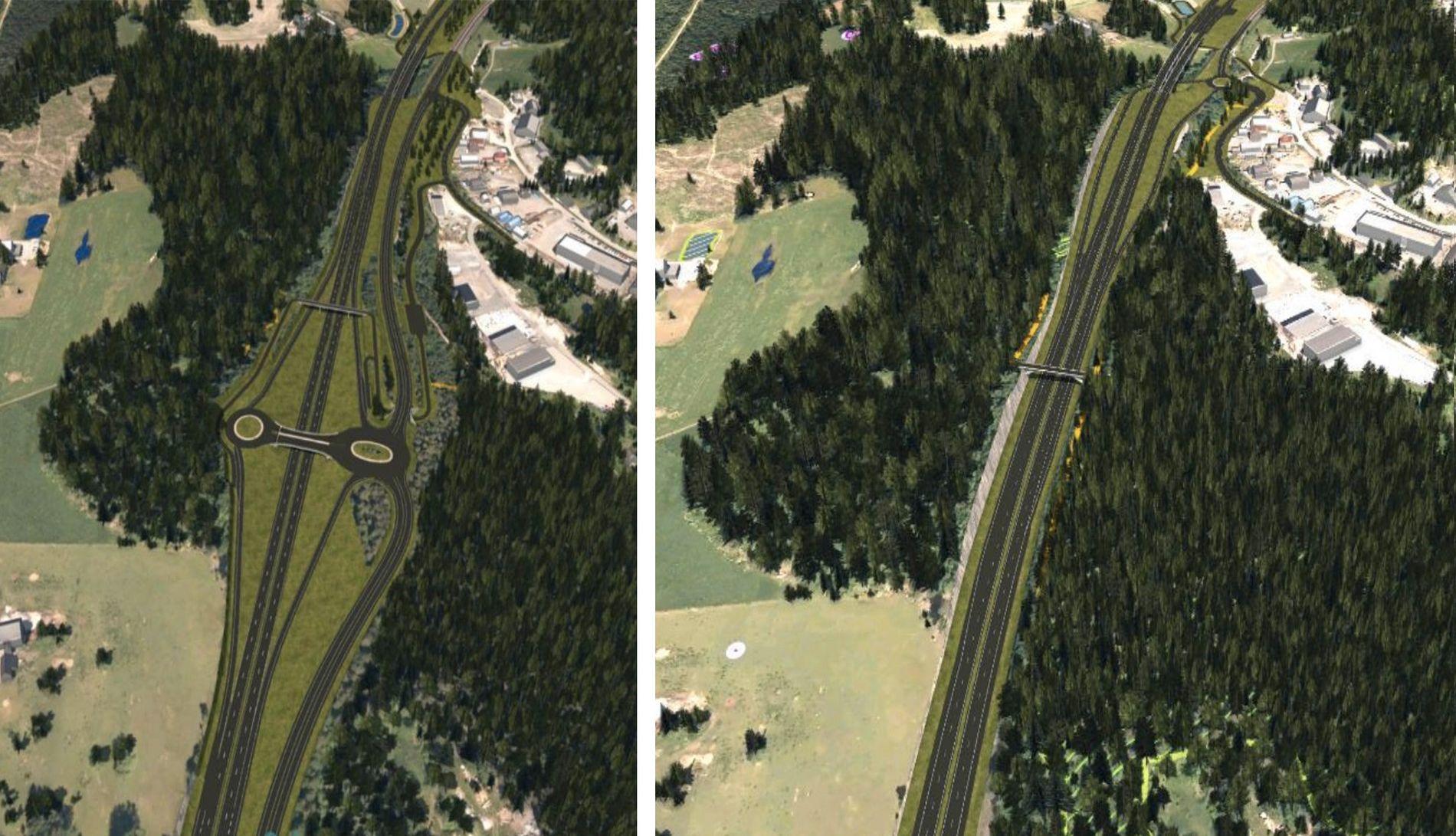 Nye Veier vil ha to halve kryss, som man kan se øverst på illustrasjonen til høyre. Vegvesenet vil ha et fullskala kryss som til venstre.
