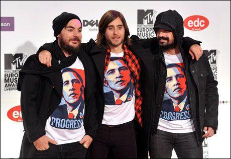 VANT TO: Jared Leto og 30 Seconds To Mars vant to MTV-priser i Liverpool. Foto: Reuters