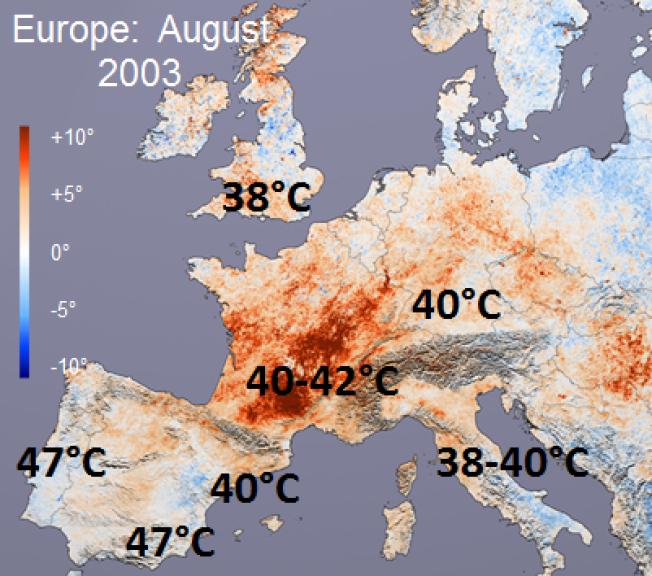 DREPENDE VARME: Slik fordelte den ekstreme heten seg i august 2003. Hele 72 000 mennesker omkom, viser nye tall.