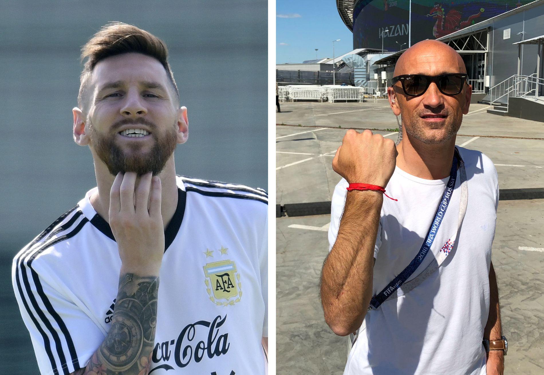 BÅND FOR LIVET: Rama Pantorotto (t.h.) kommer neppe til å ta av seg dette røde båndet. Lionel Messi (t.v.), her nyfrisert dagen før åttedelsfinale mot Frankrike, bærer nemlig tvillingbåndet.