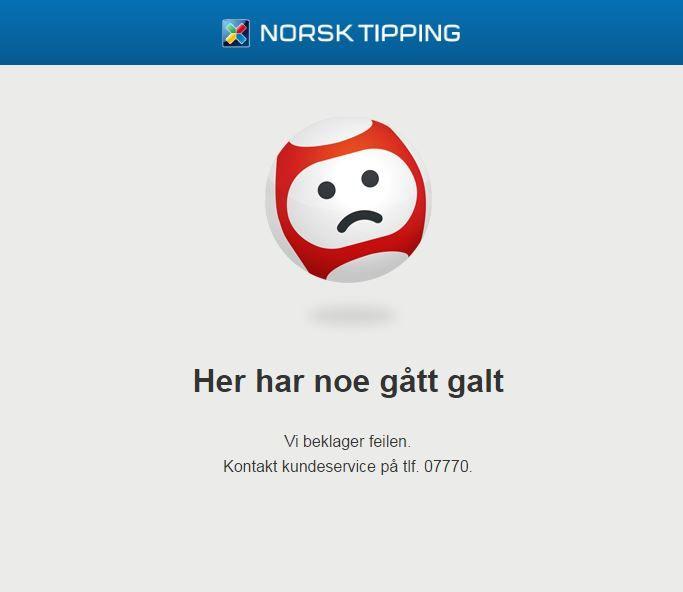 TING GÅR GALT: Slik ser nettsiden til Norsk Tipping ut dersom du har forsøkt å komme deg inn dit søndag ettermiddag. (Skjermdump fra internett)