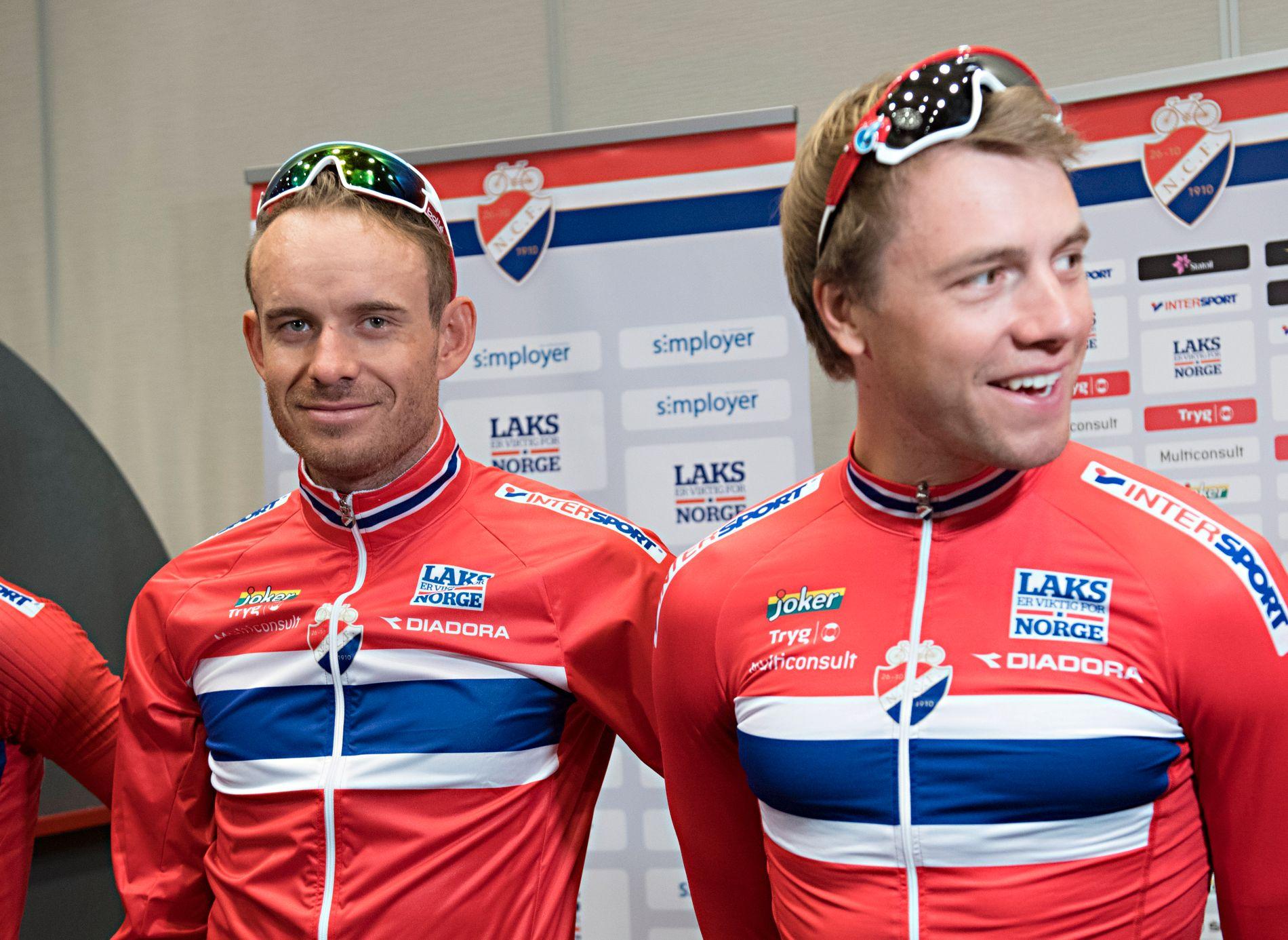 HVEM SKAL VÆRE SJEF: Alexander Kristoff (t.v.) og Edvald Boasson Hagen er klare for sykkel-VM i England. Her fra presentasjonen før VM i Bergen for to år siden.