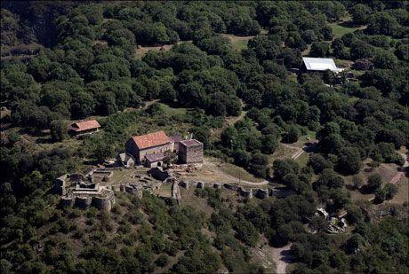 UTGRAVINGSSTEDET: Flyfoto av middelalderlandsbyen Dmanisi i Georgia. Utgravingsfeltet ligger under taket oppe i høyre del av bildet. Foto: Fernando Javier Urquijo