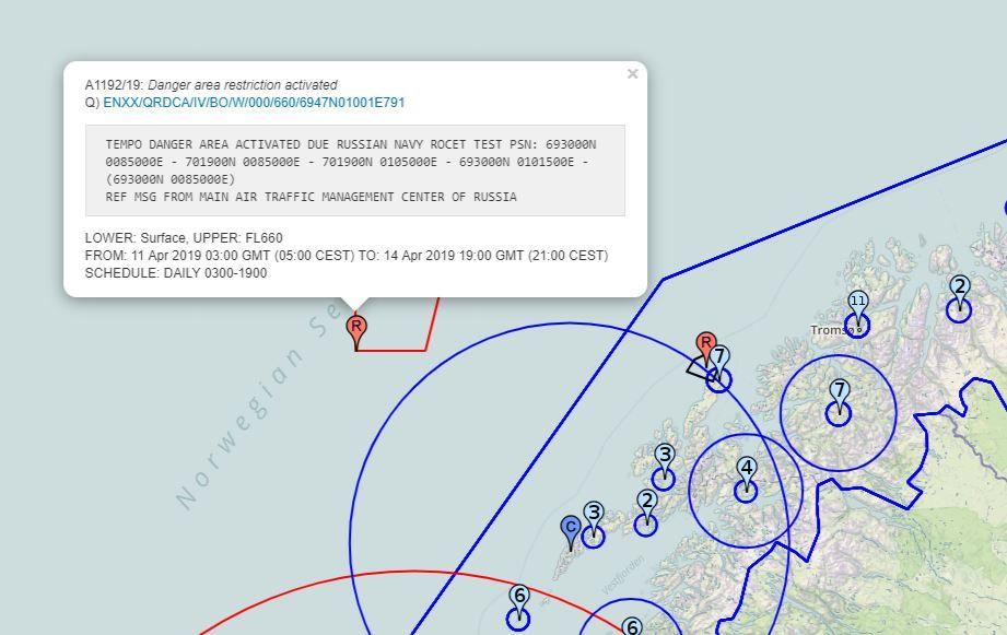 VARSEL: Slik varslet russisk luftfartstjeneste om øvelsen de skulle avholde utenfor kysten av Nordland. Skjermdumpen er lastet ned 8. april.