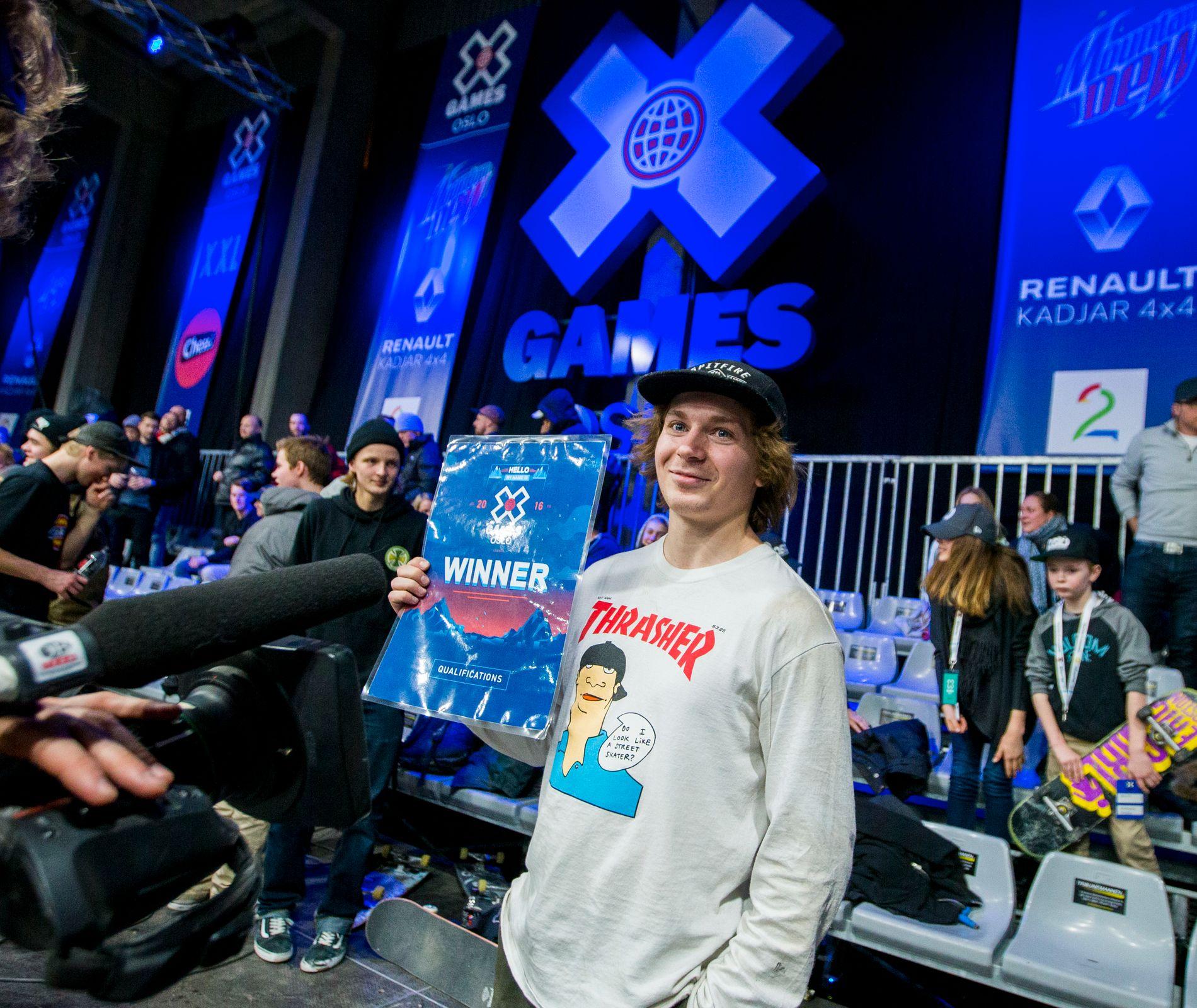FINALEKLAR I TEXAS FREDAG: Hermann Stene (22) er som første nordmann kvalifisert for street pro am i X Games i Austin i kveld. Bildet er fra X Games i Oslo i februar.