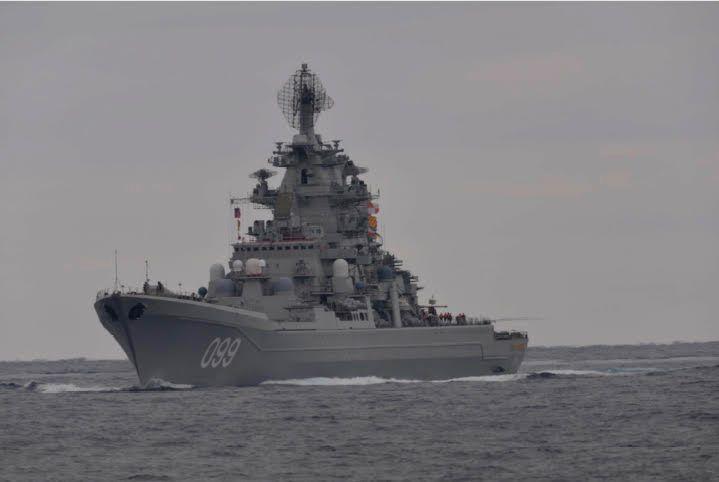 UTENFOR KYSTEN: Det russiske fartøyet Peter den store deltok på øvelsen utenfor kysten av Norge.