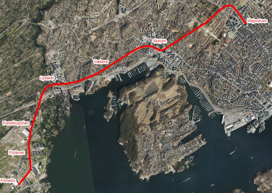 TRASEEN: T-banen vil gå under bakkenivå fra Majorstua til Koksa på Fornebu med åtte nye stasjoner i traseen.