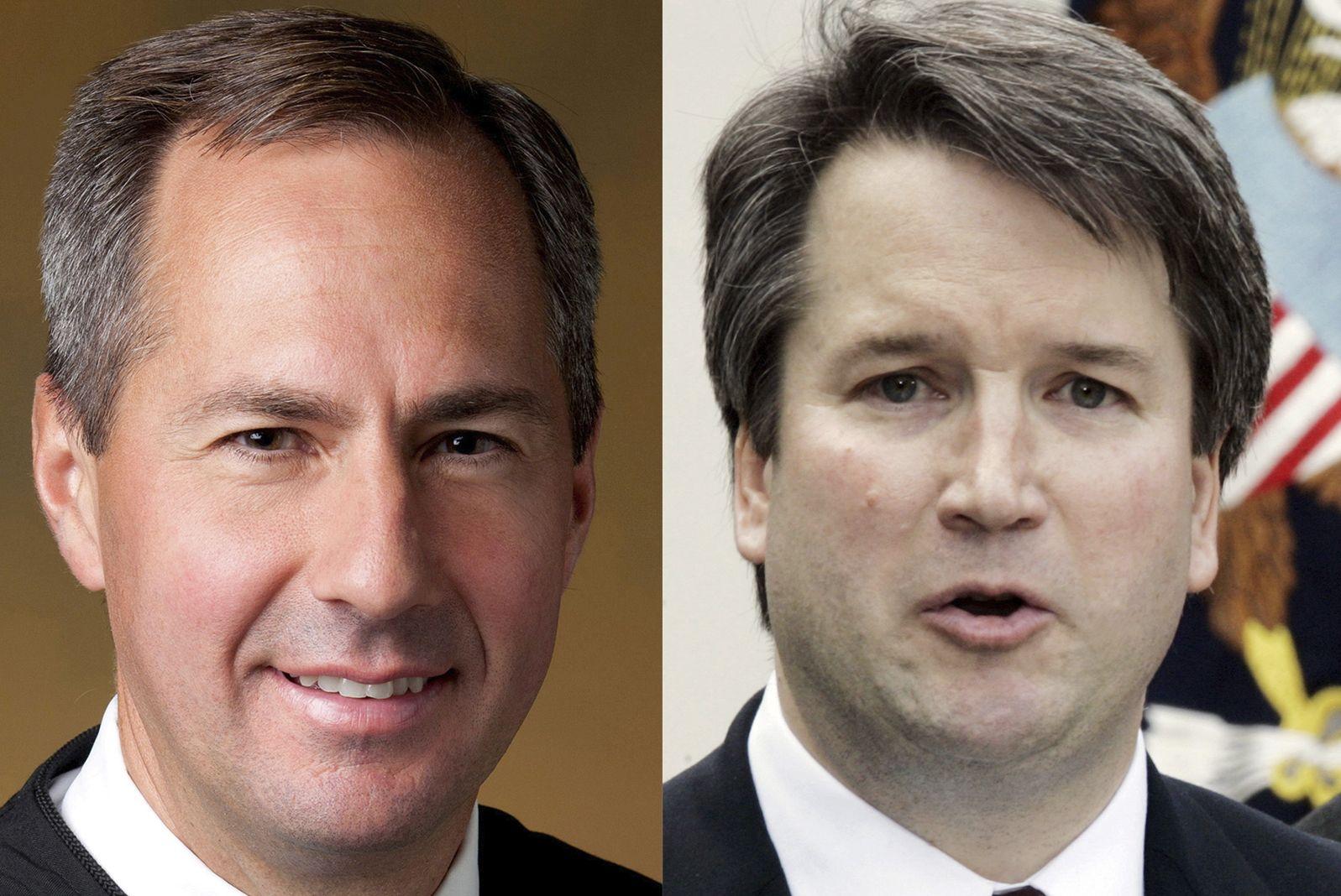 FAVORITTER: De konservative dommerne Thomas Hardiman (53, til venstre) og Brett Kavanaugh (53) er favoritter til den ledige posten i amerikansk høyesterett.