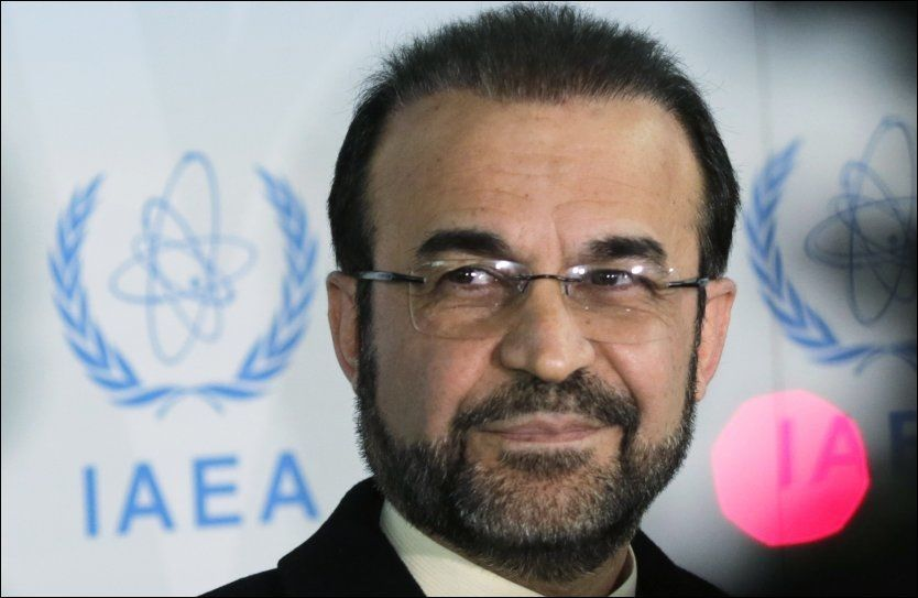 KLAR: Reza Najafi, Irans representant ved Det internasjonale atomenergibyrået (IAEA), under en pressekonferanse forrige uke. Foto: REUTERS
