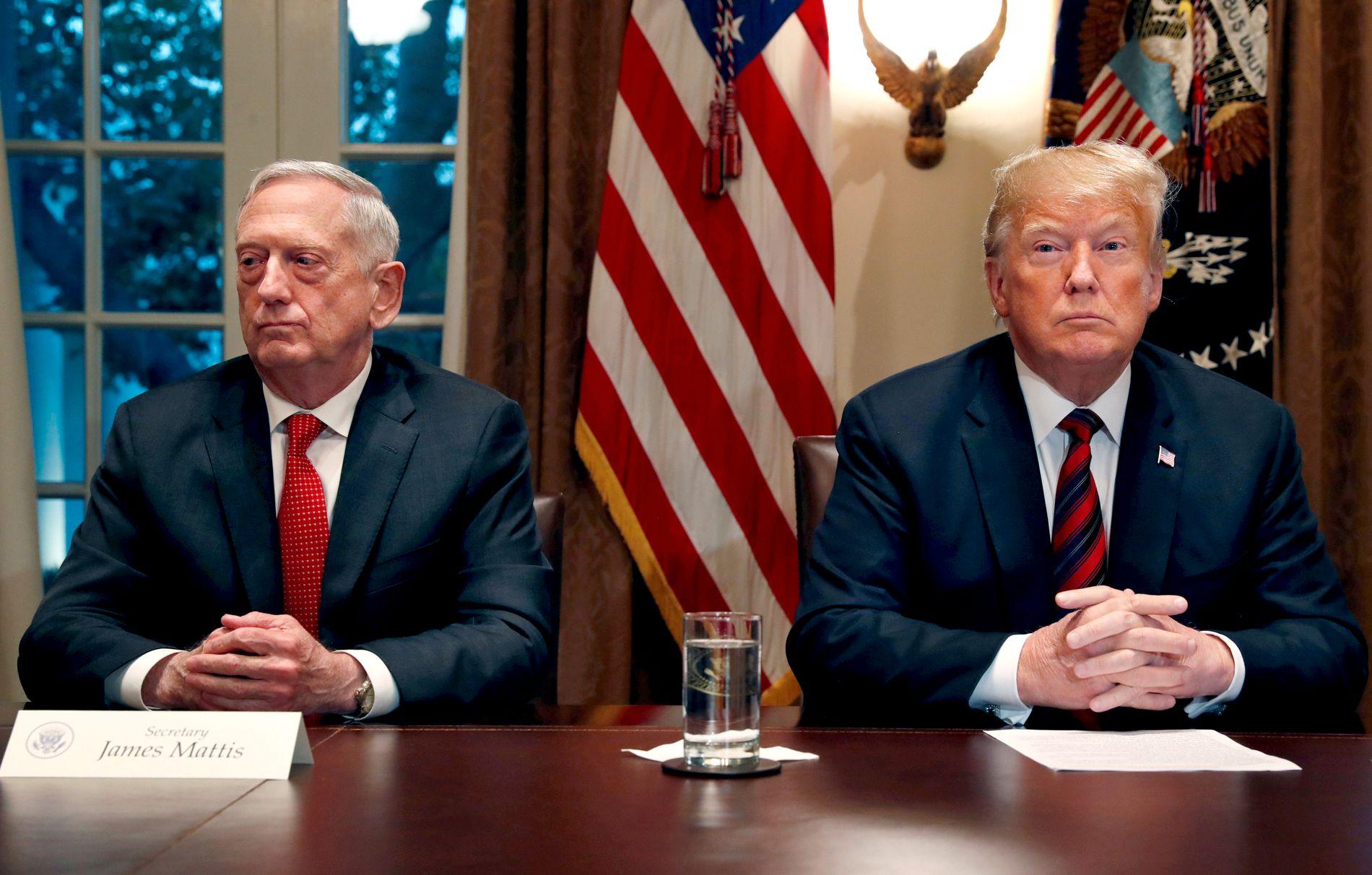 GÅR UT: USAs forsvarsminister Jim Mattis går av ved utgangen av februar. Han er den 33. personen nær Trump og presidentens administrasjon som har mistet jobben eller gått av de siste to årene.