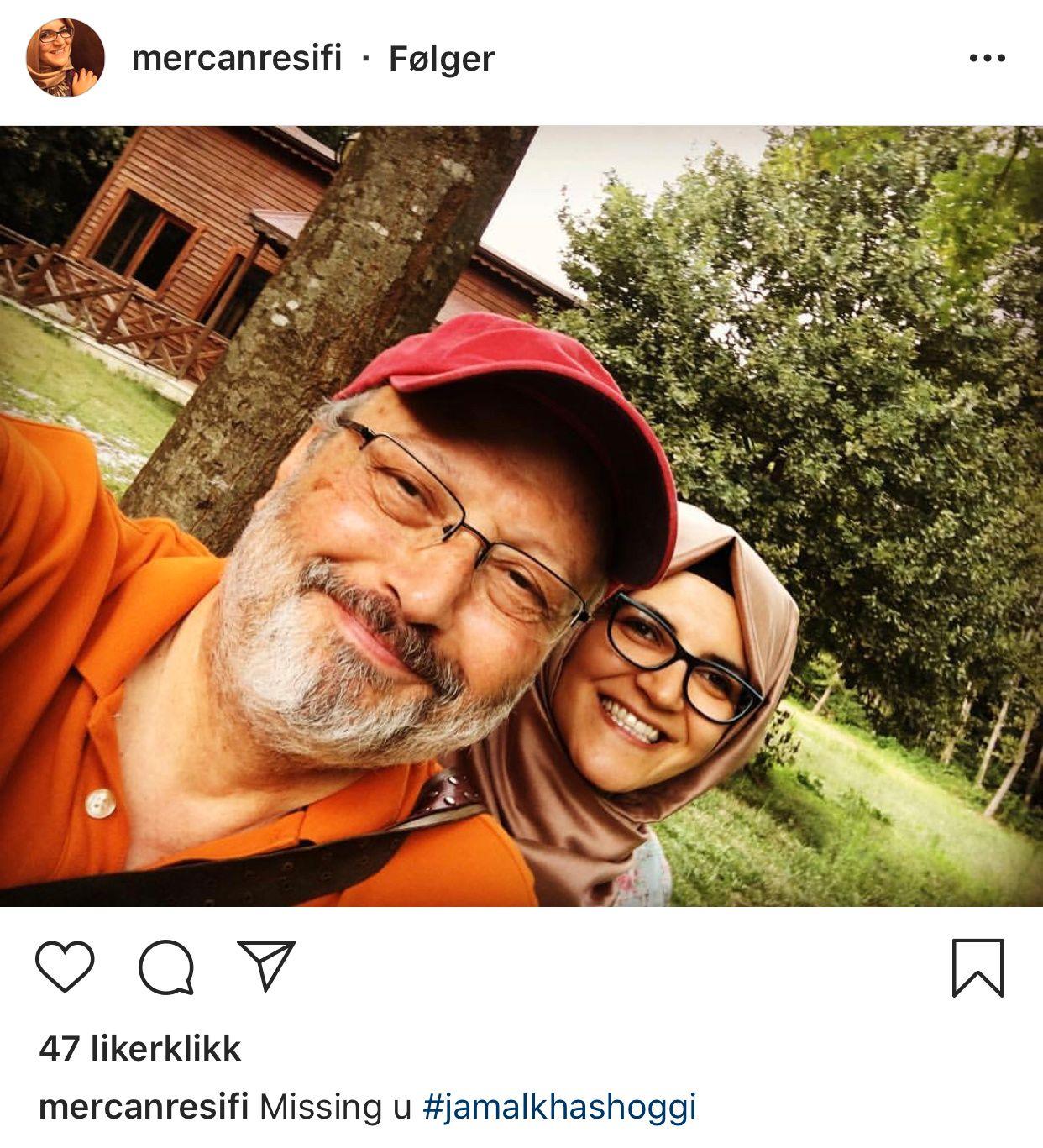 FORELSKET: Hatice la ut dette bildet av seg selv og forloveden Jamal på Instagram i desember, der hun skrev «savner deg». Bildet brukes med tillatelse fra Hatice.