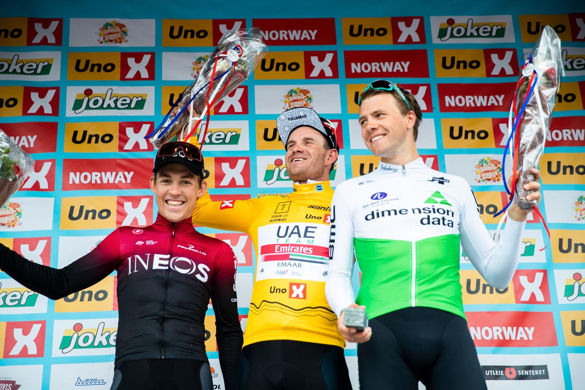 KAN VINNE: Kristoffer Halvorsen (t.v.) klarte ikke snike seg med i Ineos sin Tour-tropp, men Alexander Kristoff og Edvald Boasson Hagen har muligheter allerede på den første etappen.