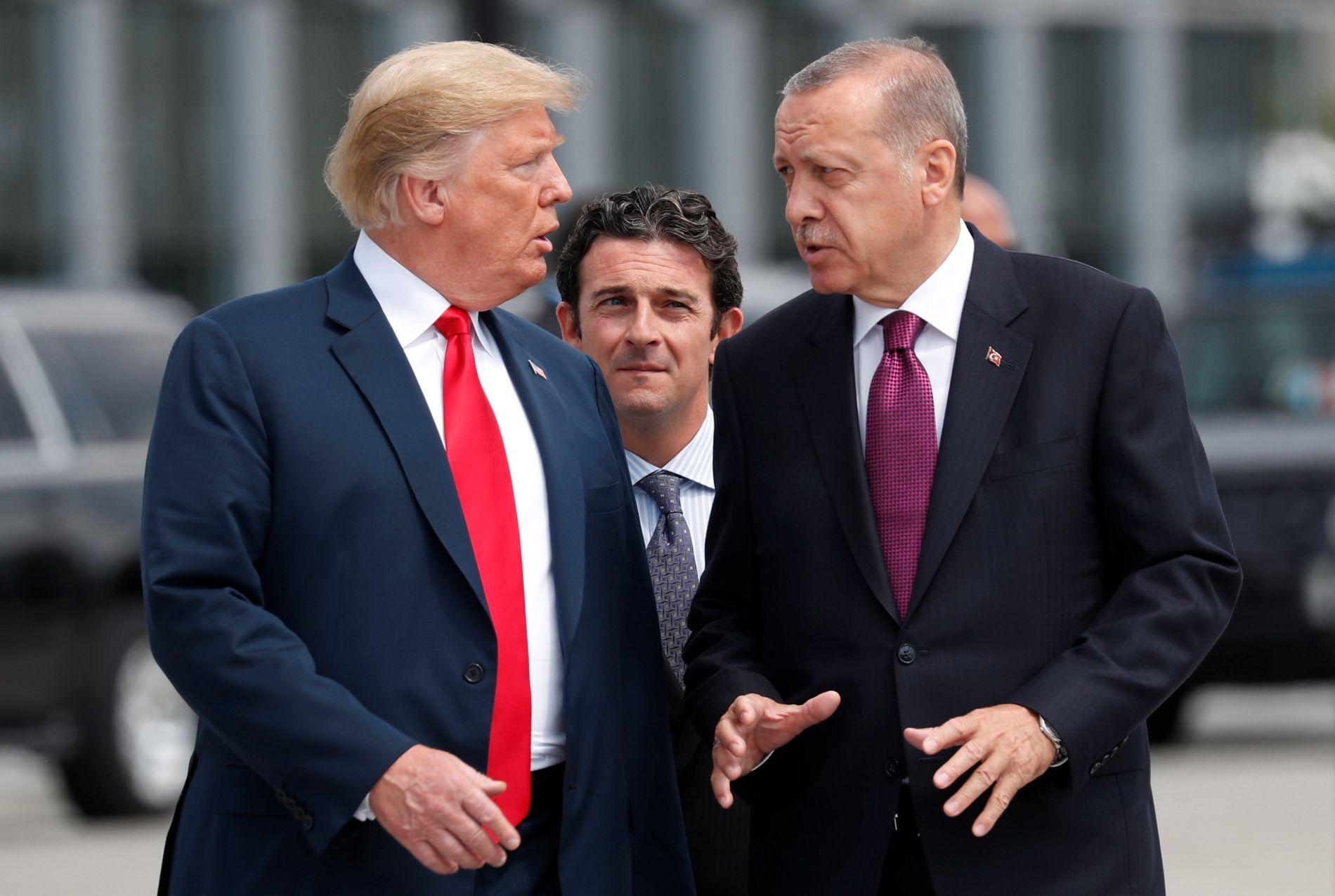 DISKUSJON: Trump og Erdogan hadde mye uoppgjort å snakke om under NATO-toppmøtet i Brussel 11. juli.