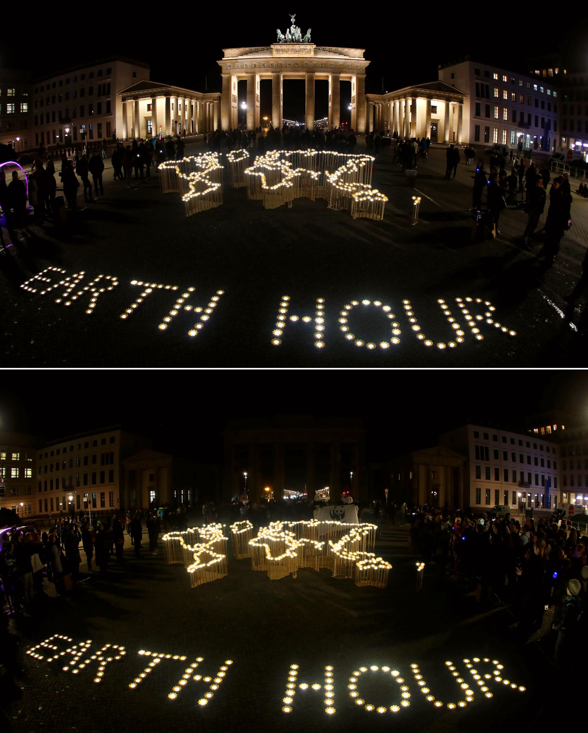 BERLIN: Nederste bildet viser Brandenburg Gate i Berlin under «Earth Hour».