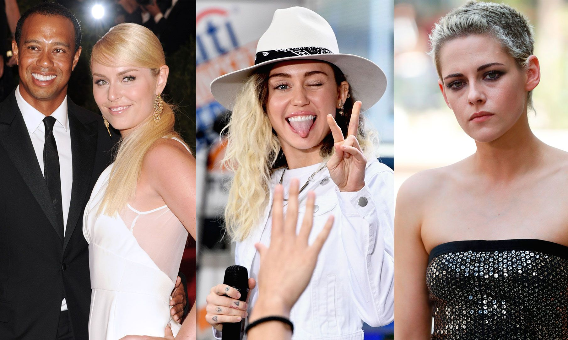 UTSATT: Tiger Woods, Lindsay Vonn, Miley Cyrus og Kristen Stewart.