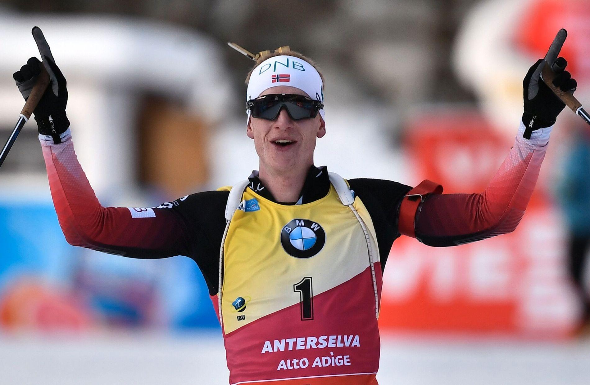 EN ENER: Johannes Thingnes Bø går inn til seier på jaktstarten i Anterselva sist helg.