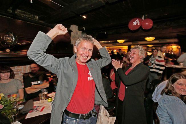 JUBLER: Jens Ingvald Olsen, Rødts ordførerkandidat i Tromsø er svært godt fornøyd med prognosene for valget i Tromsø.
