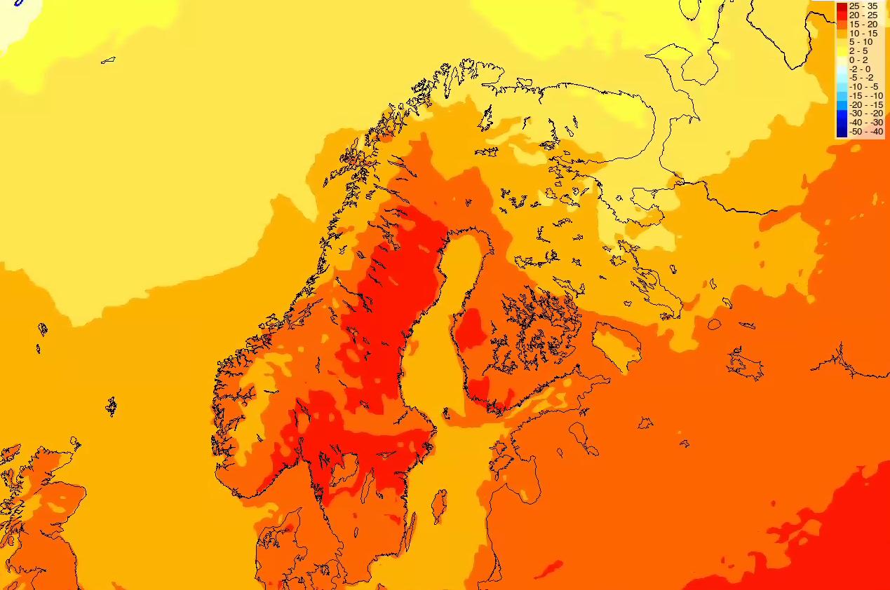 RØDT BETYR VARMT! Sjekk dette temperaturkartet for kommende onsdag – som viser 20–25 plussgrader på kysten av Sør- og Østlandet.