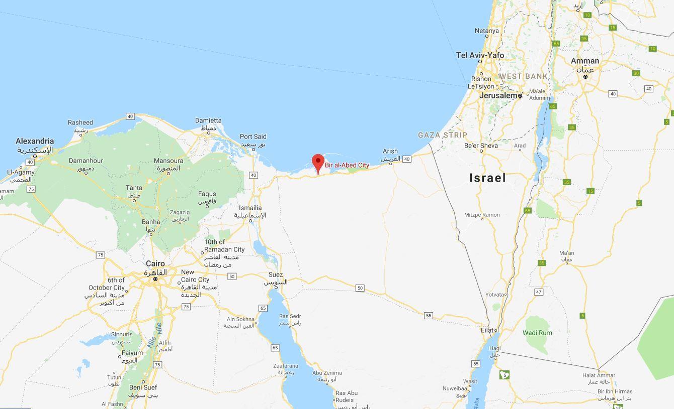 KART: Angrepet rammet al-Rawda-moskeen i Bir al-Abed helt nord på Sinaihalvøyen.