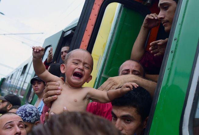 SMÅBARN: Denne lille gråtende gutten var med toget som ble stoppet i Bicske. Rundt 200-300 migranter var om bord på toget.