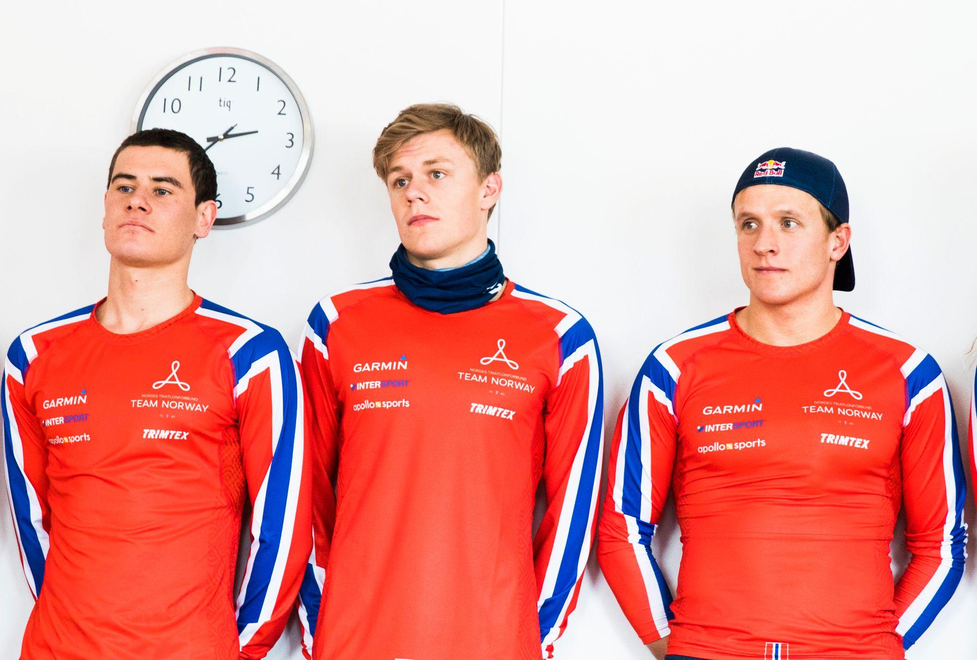 TAPETSERTE PALLEN: Casper Stornes ( i midten) vant, mens Kristian Blummenfelt (til høyre) og Gustav Iden kom på de neste plassene.