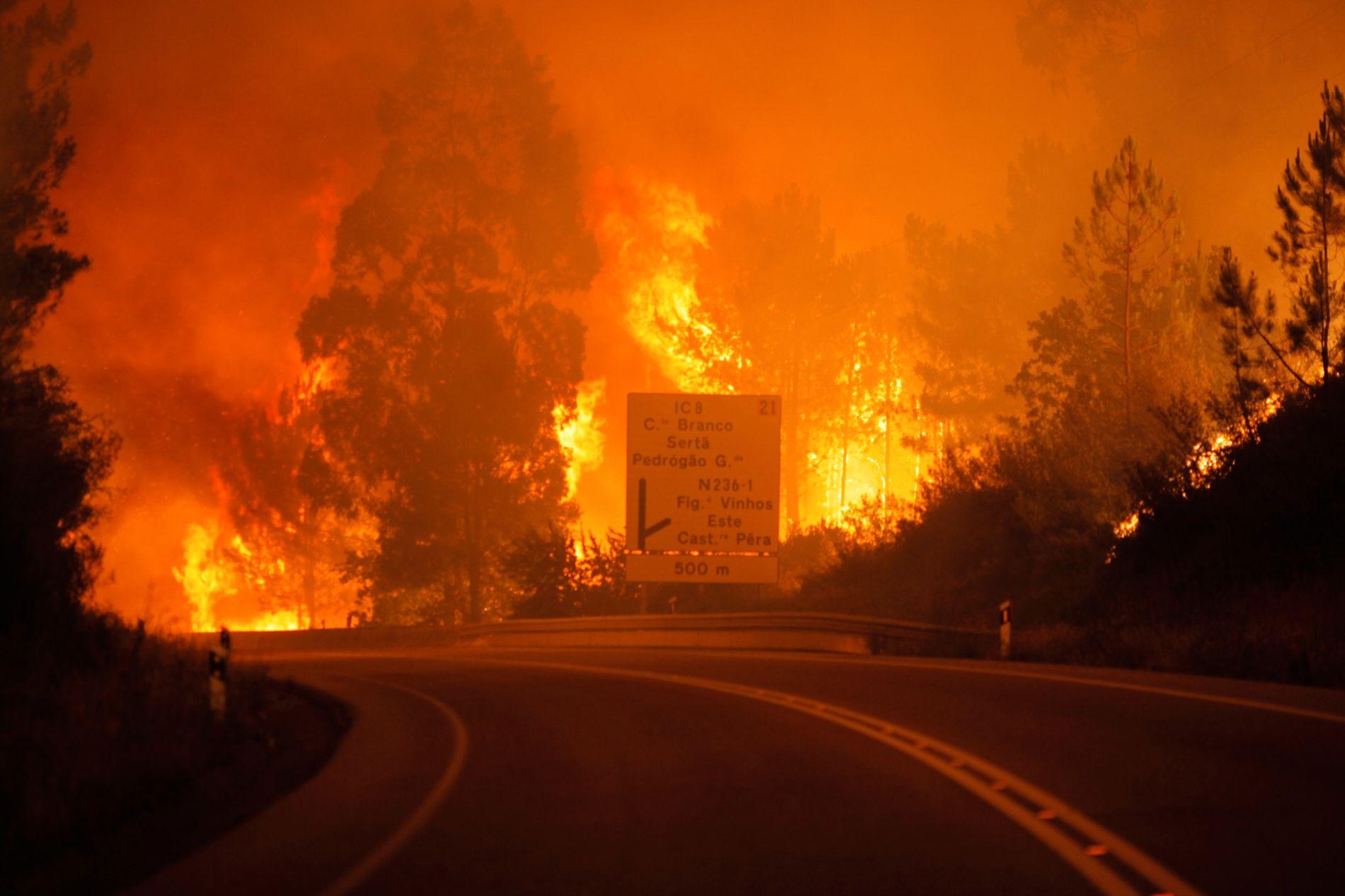 IKKE KONTROLL: Brannmannskaper jobber natt til søndag på spreng for å få kontroll på brannen som raser i Pedrogao Grande.