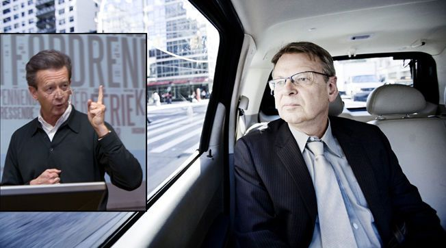 UENIGE: PR-konkurrentene Hans Geelmuyden fra Geelmuyden.Kiese (innfelt) og Morten Wetland fra First House har helt ulik strategi for åpnhet rundt kunder. Foto: NTB/Scanpix/VG
