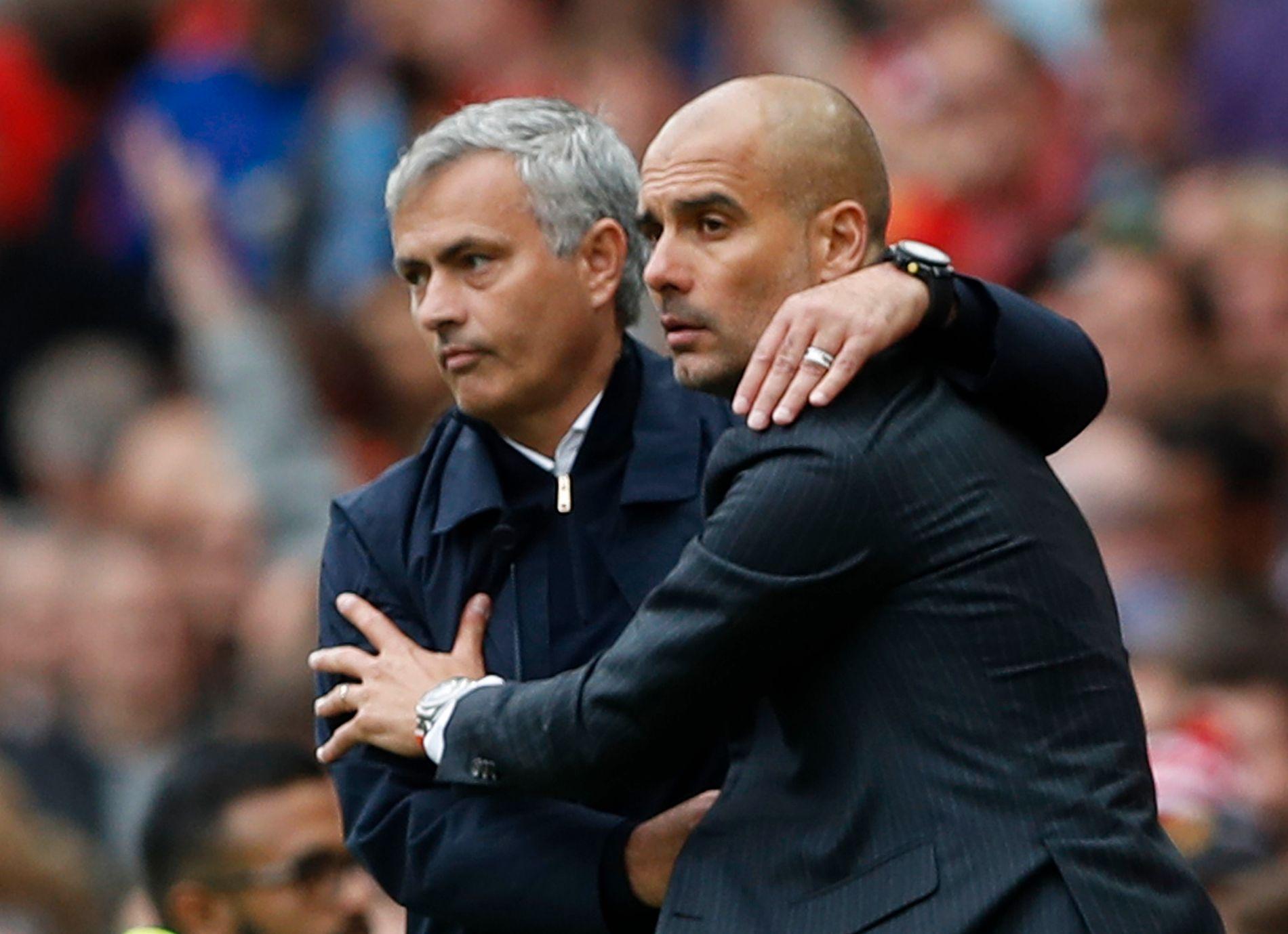 MØTES IGJEN: Rivalene Pep Guardiola og José Mourinho møtes igjen for en avgjørende kamp.