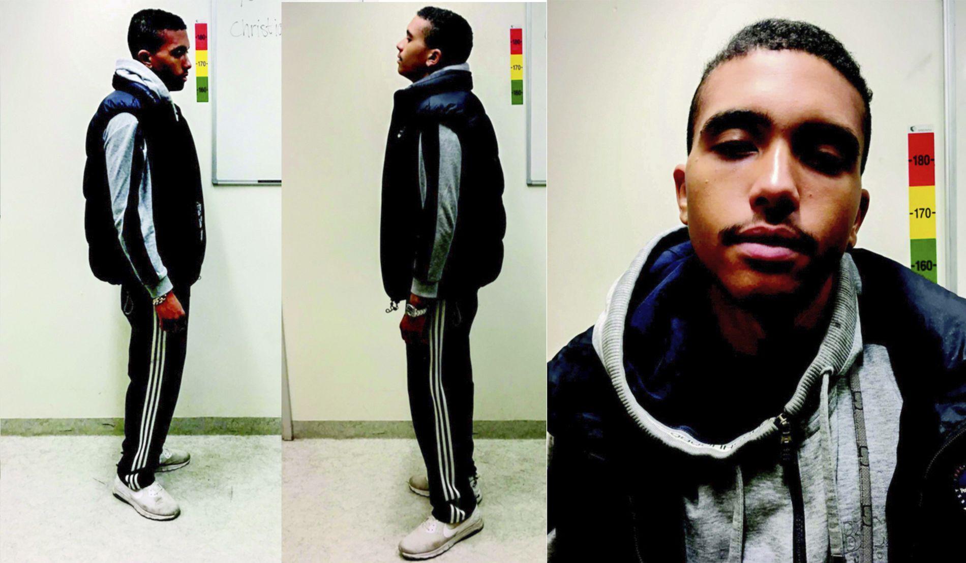 FENGSELSFOTO: Her er Makaveli Lindén fotografert av svensk politi etter at han ble tatt for et ran med kniv i et kollektiv i Uppsala i 2017. Foto: Politiet