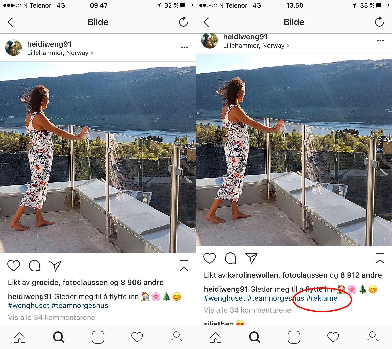 ENDRET: Heidi Weng poserer i sitt nye hus på Lillehammer. Posten er et reklameinnlegg, men ble først merket lang tid etter det ble lagt ut.
