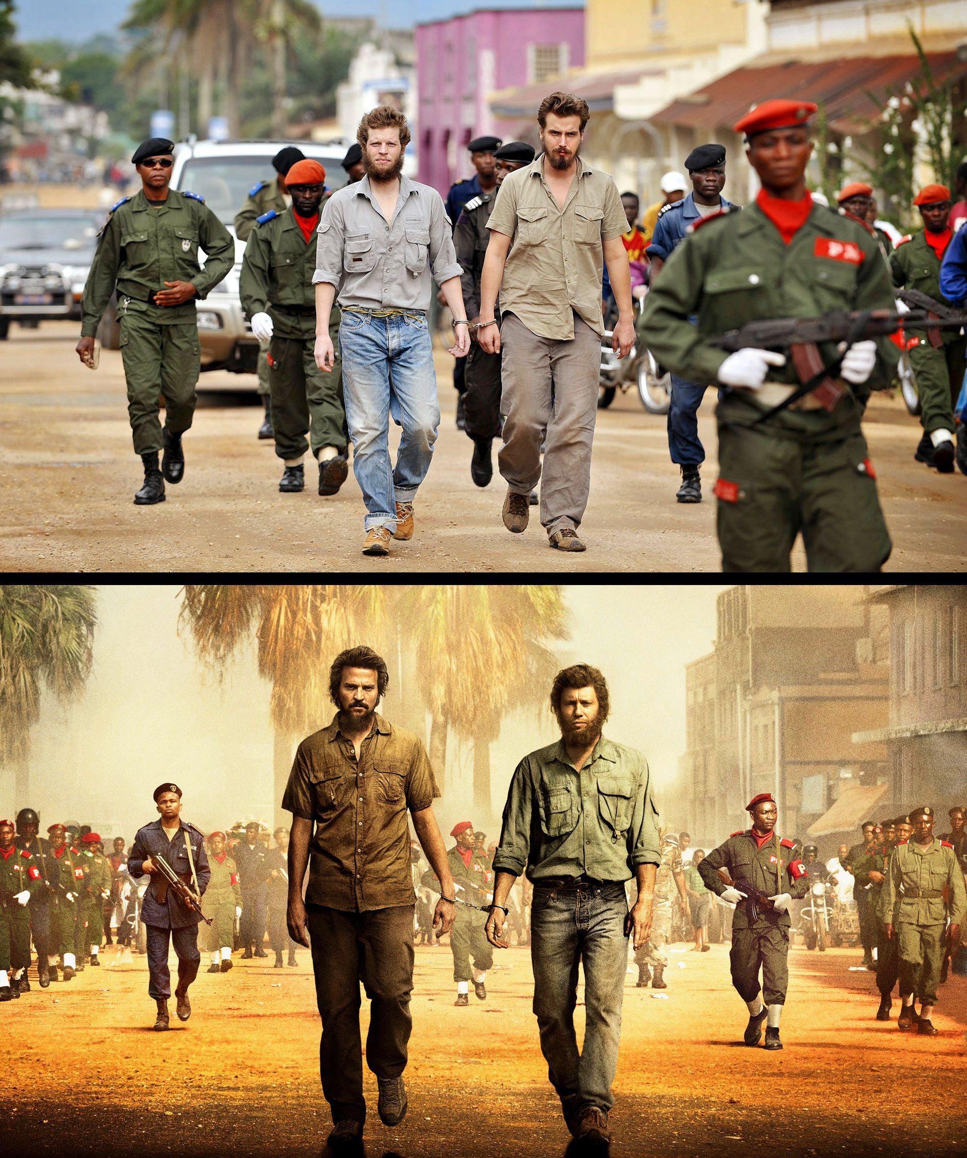 I LENKER: Joshua French og Tjostolv Moland blir ført fra fengselet i Kisangani til rettssalen. Det øverste bildet er tatt i Kisangani i august 20019. Det nederste er fra filmen «Mordene i Kongo».