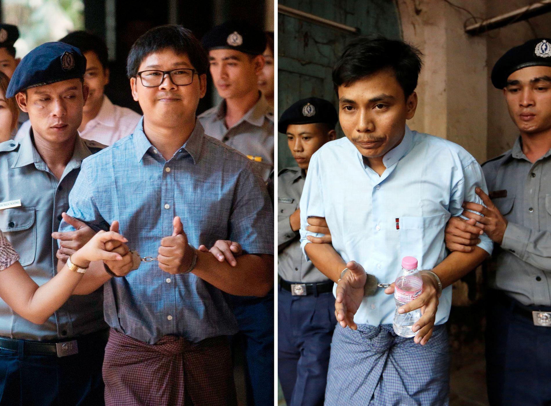 AVSLØRTE MASSAKREN: Reuters-journalistene Kyaw Soe Oo og kollega Wa Lone, til venstre, er fengslet etter Inn Din-avsløringen. De er fotografert under en høring i retten i Yangoon i februar. Foto: Reuters.
