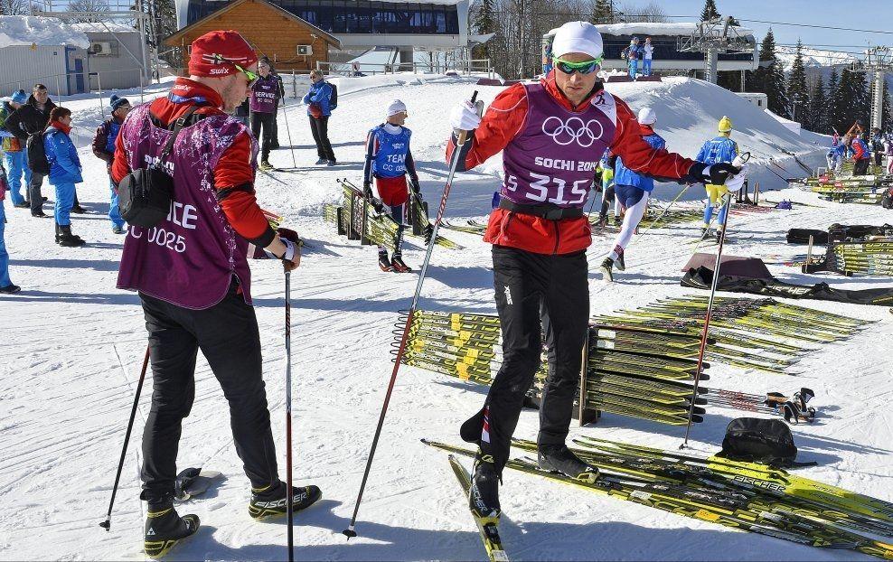GODE VENNER: Petter Northug og Eirik Myhr Nossum er venner fra ungdomstiden. Det siste året har Eirik Myhr Nossum fungert som Northugs trener. Her fra OL i Sotsji. Foto: Bjørn S. Delebekk/VG