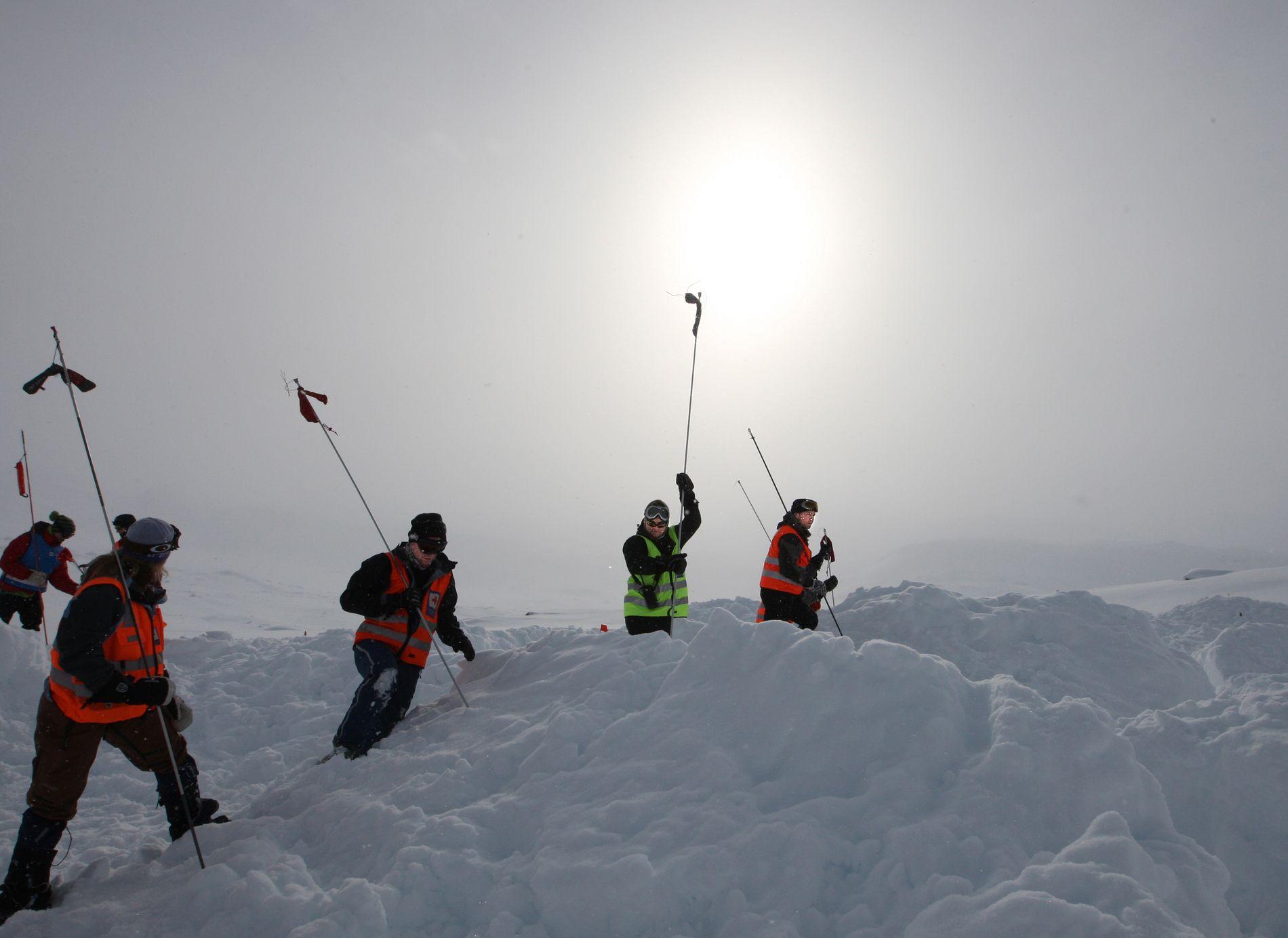 SØKER I SKREDET: Faren for snøskred øker nå både i lavlandet på grunn av regn, og i høyfjellet på grunn av en kuldeperiode etterfulgt av mer snøfall. Her er mannskaper fra Røde Kors Hjelpekorps i gang med skredsøk-øvelse på Finse i 2010.