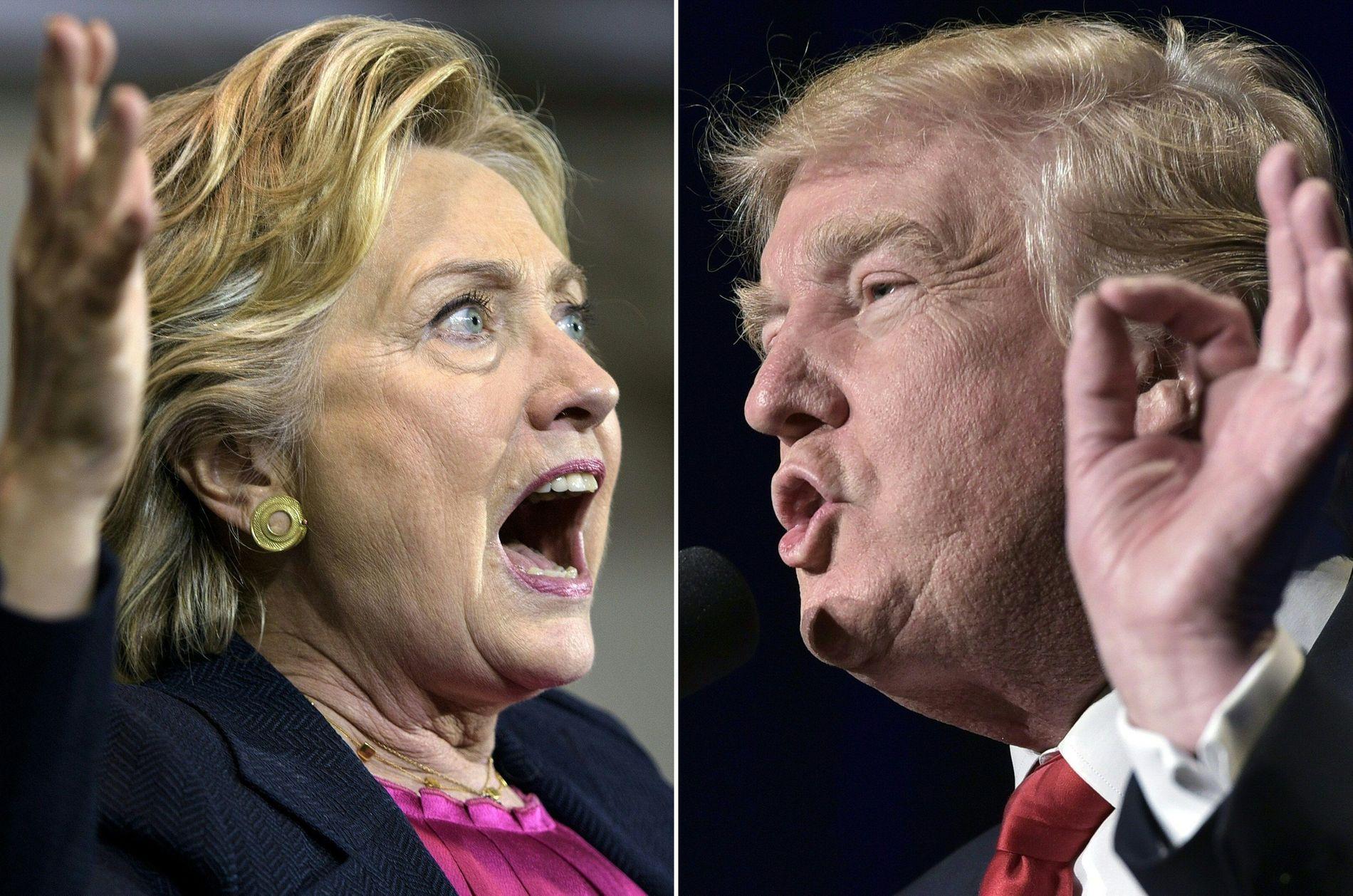 I TOTTENE PÅ HVERANDRE: Donald Trump og Hillary Clinton er fremdeles ikke bestevenner.