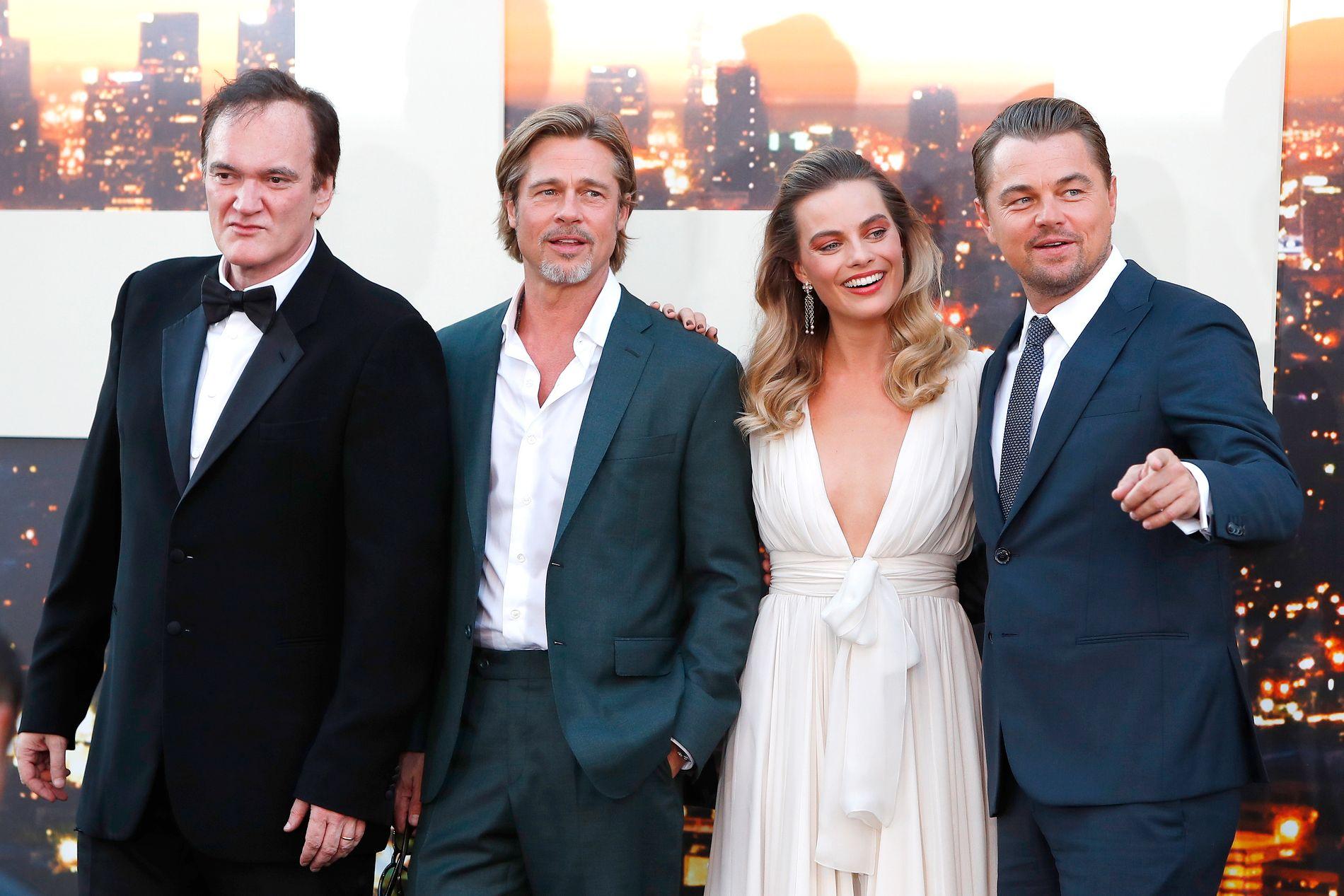 STJERNELAG: F.v.: Quentin Tarantino, Brad Pitt Margot Robbie og Leonardo DiCaprio på filmpremieren i Hollywood 22. juli.